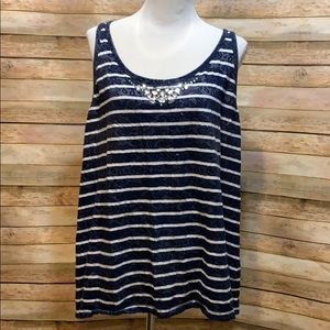 Lane Bryant stripe tank with jewels